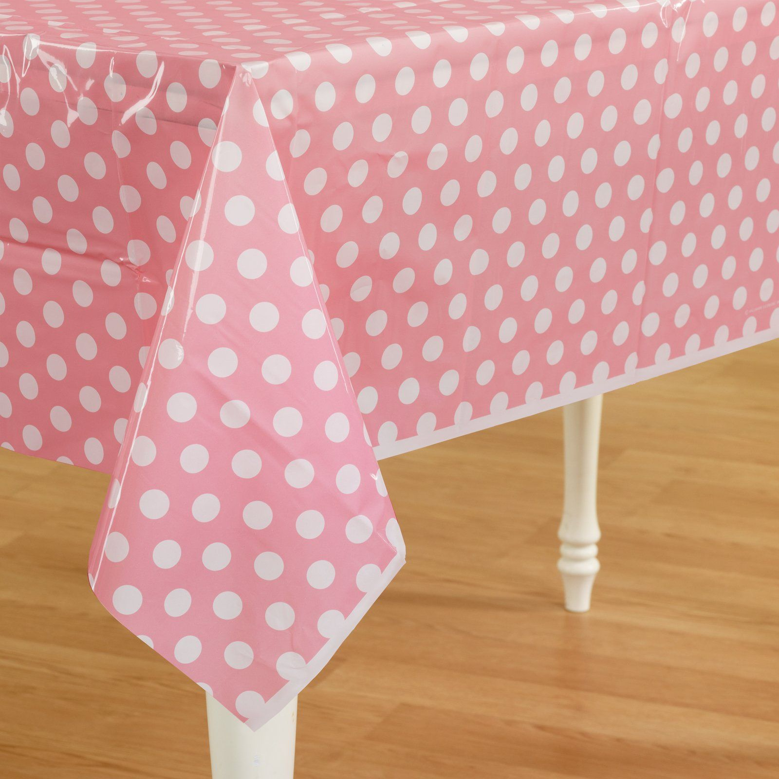 Light Pink Polka Dot Plastic Tablecover   $2.03   Tablecloth   Table Covers  At AWise.