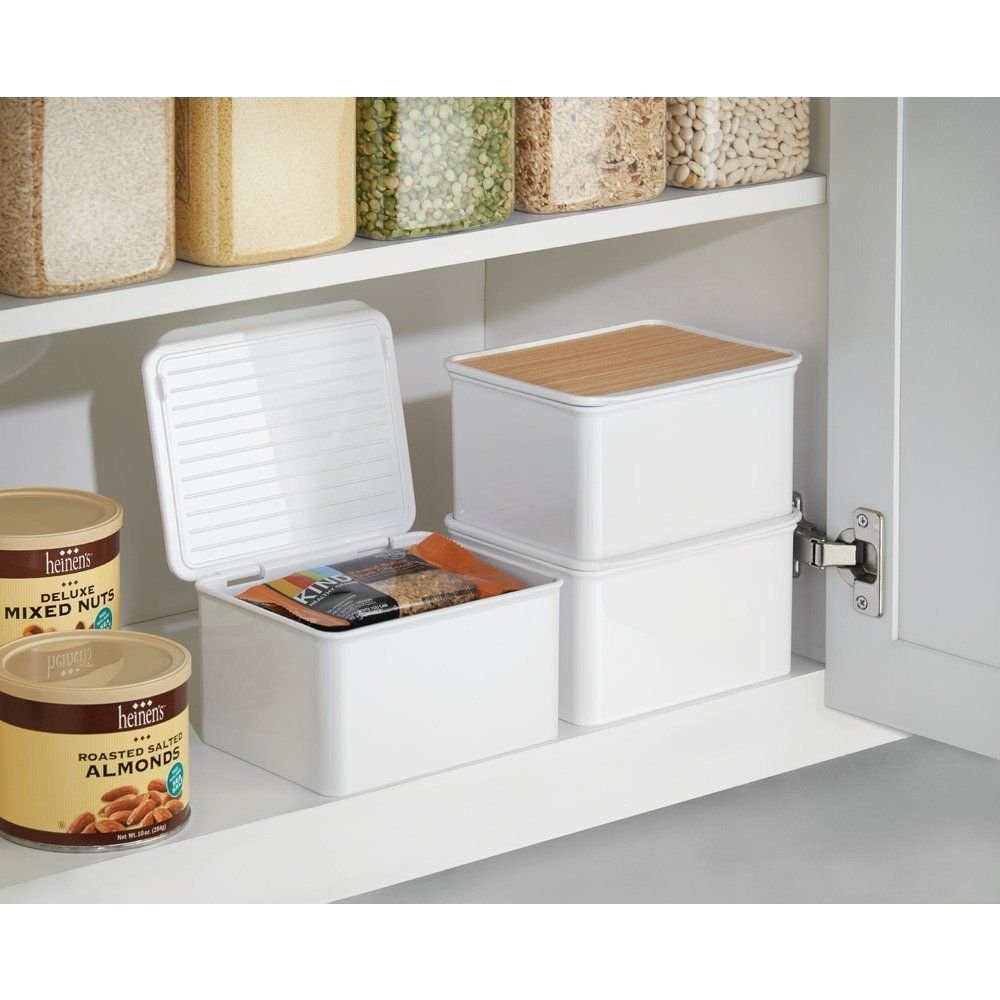 Amazon Com Interdesign Realwood Kitchen Cabinet And Pantry Storage Box With Hinged Lid White Pantry Storage Kitchen Cabinet Storage Plastic Kitchen Cabinets