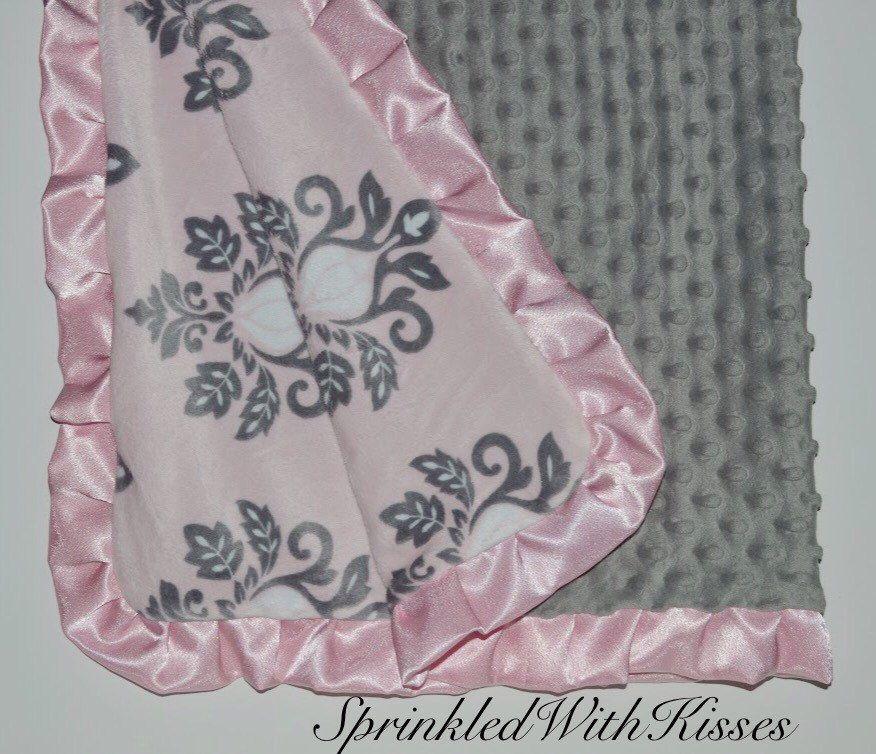 "NEW Minky Dots Nursery Toddler child baby Blanket Satin Ruffle chevron 40/""X40/"""