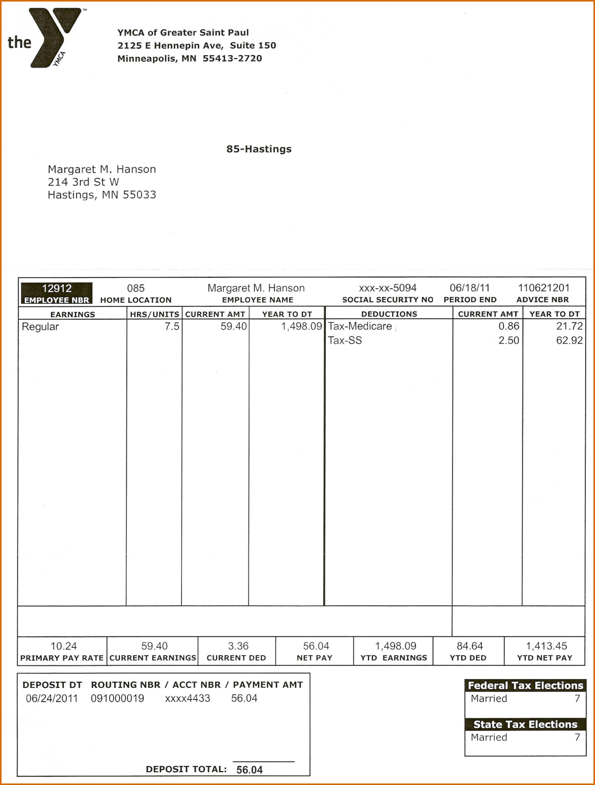 7+ pay stub template pdf Word