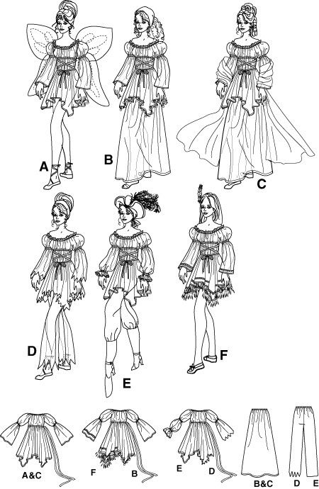 Diy Sewing Pattern-Simplicity 5363 -Fairy, Fortune Teller,Pirate ...