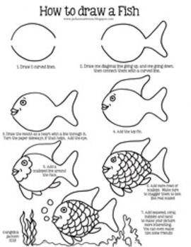 How To Draw A Rainbow Fish : rainbow, Rainbow, Fish,, Drawings,