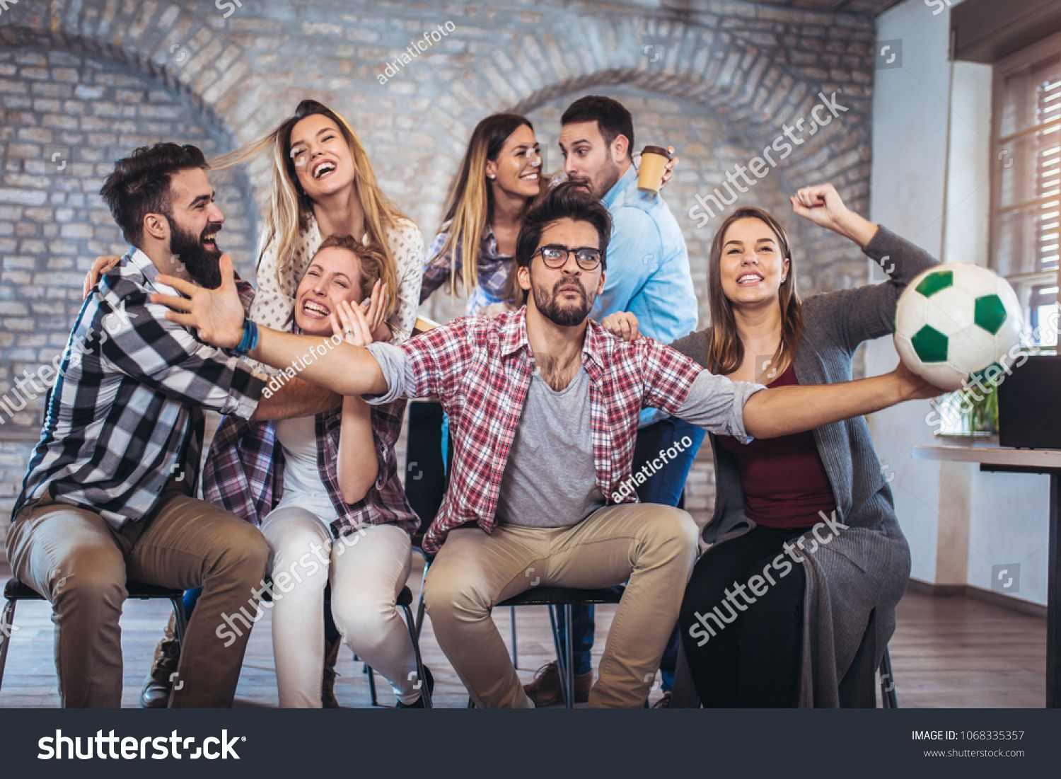Happy Friends Or Football Fans Watching Soccer On Tv And Celebrating Victory Friendship Sports And Entertainment Concep Soccer Tv Happy Friends Football Fans