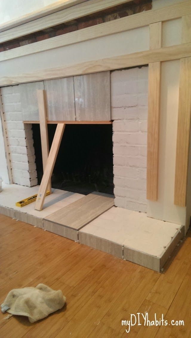 Diy Fireplace Mantel, How To Resurface A Brick Fireplace With Tile