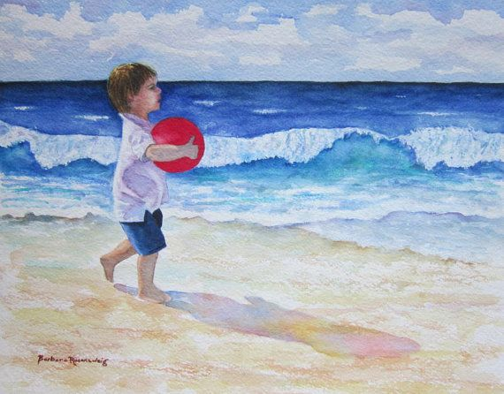 Beach Boy Original Watercolor Painting Beach Nursery Wall Art
