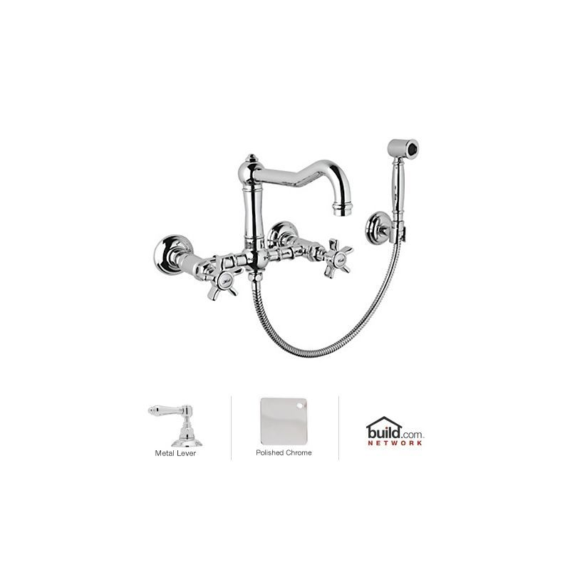 Rohl A1456XWS-2 Country Kitchen Wall Mounted Bridge Faucet with ...