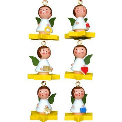 Alexander Taron Christian Ulbricht 6 Piece Assortment Angel on Star Ornament Set