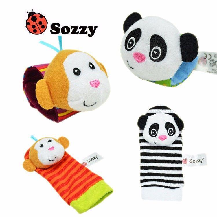 Infant Baby Kids Boy Cute Animal Hand Wrist Bells Foot Sock Rattles Soft Toys