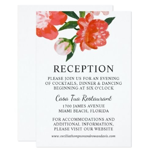 Watercolor Wedding Reception Wedding Reception Card | Coral Watercolor Flowers
