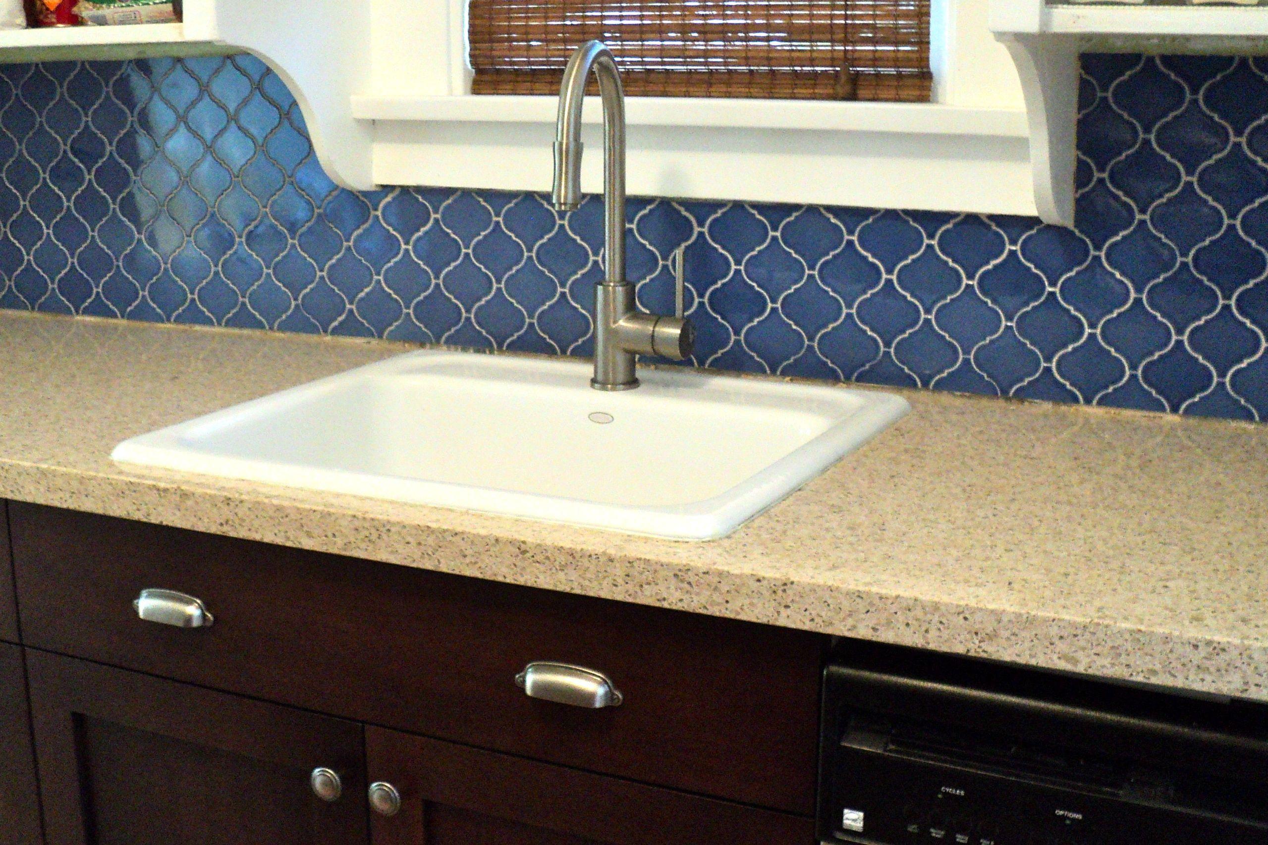 Blue moroccan lantern tile backsplash installed ashandorange