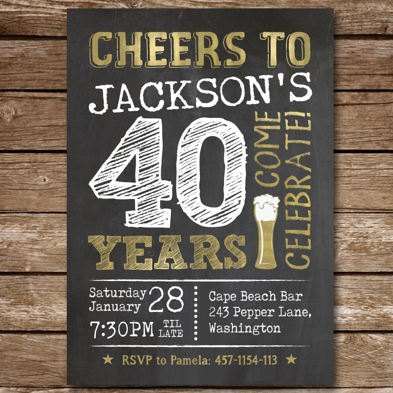 40th birthday invitation for man cheers to 40 years