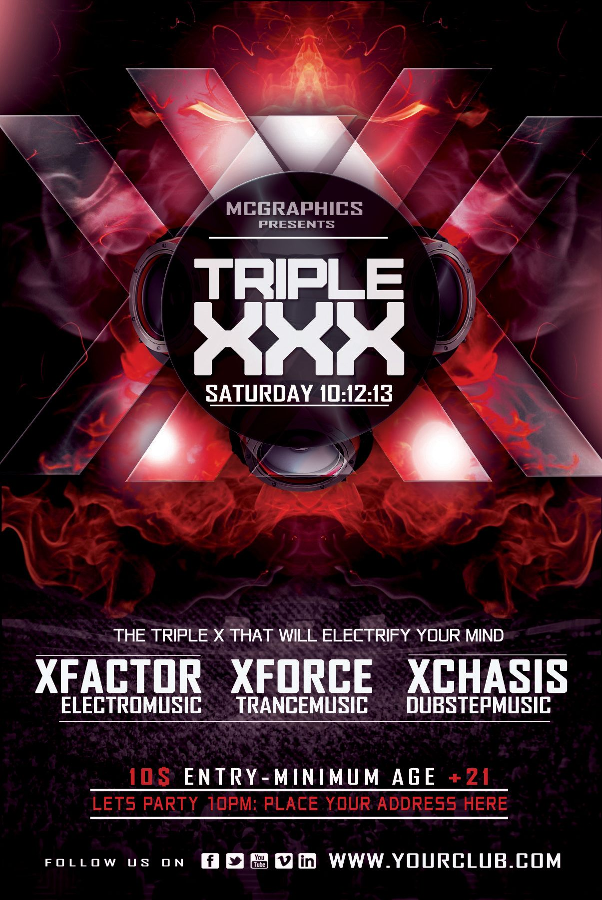 TRIPLE XXX #PSD #FLYER #POSTER #TEMPLATE http://graphicriver.net ...