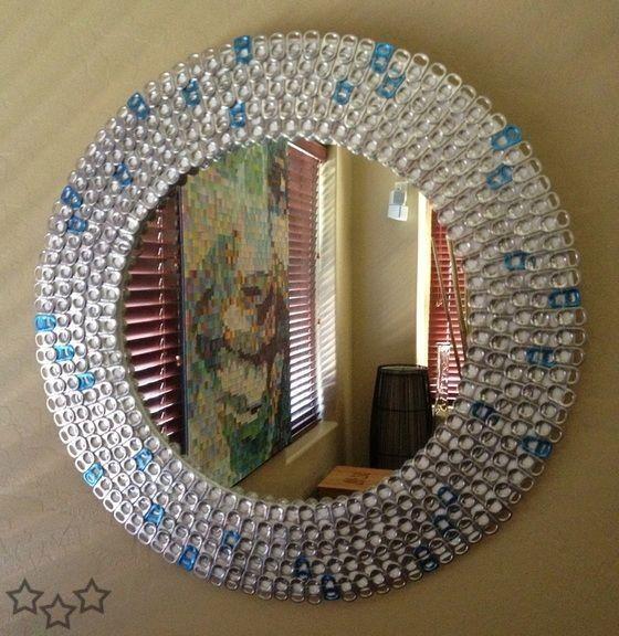 Espejo chapas y anillas de latas pinterest anillas - Espejos para manualidades ...
