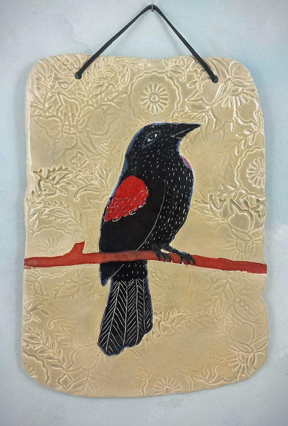 Red-winged Blackbird, ceramic wall art tile | Ceramic - Clay Wall ...