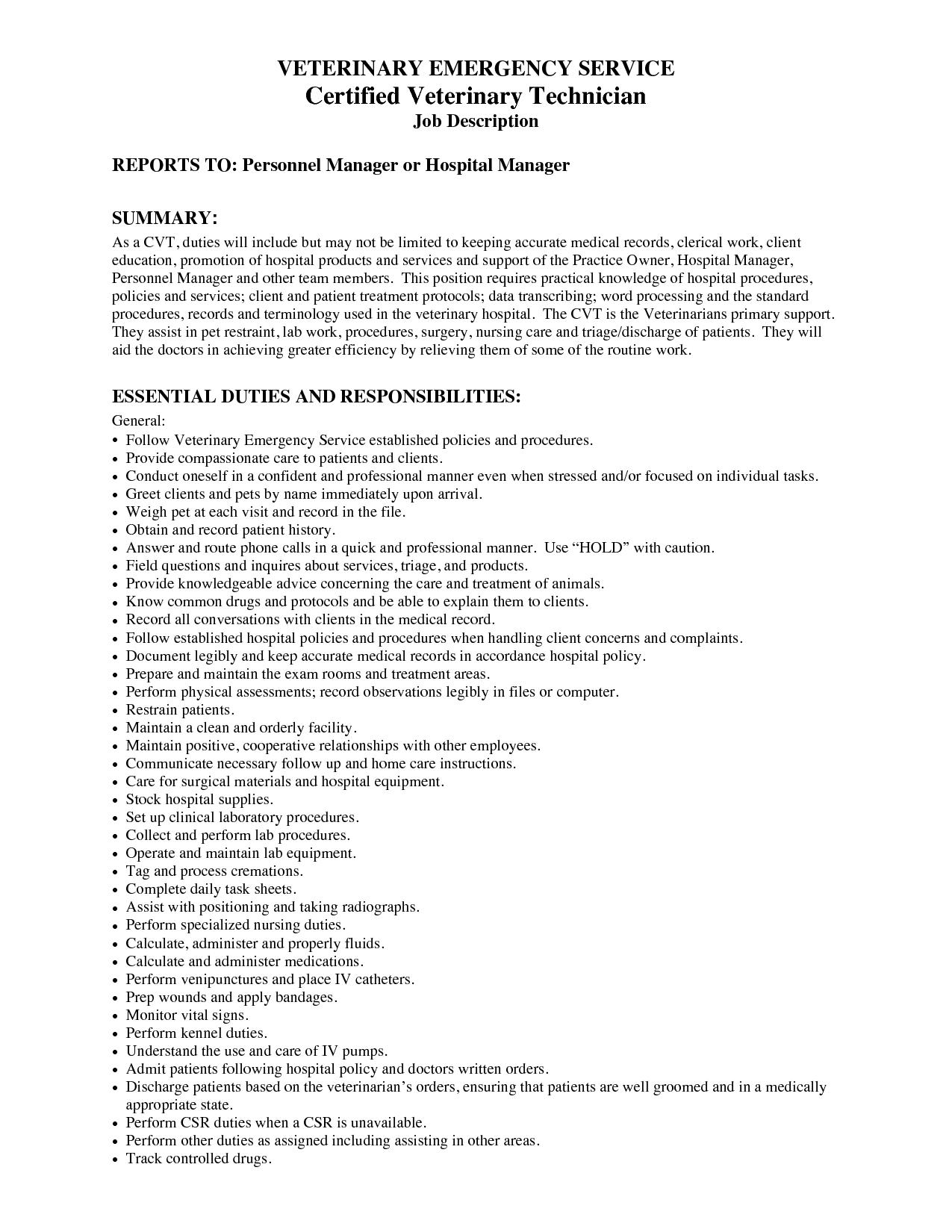 Veterinary Technician Resume Resume Skills Vet Tech Job Description Veterinary