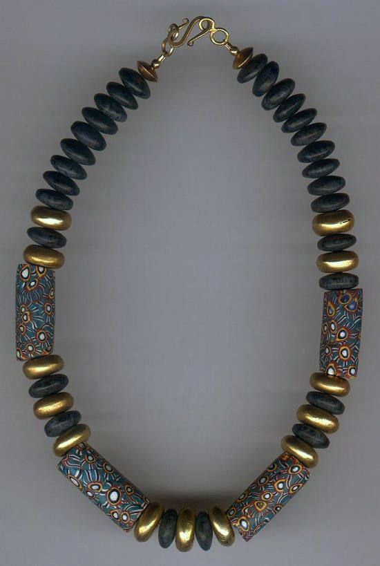 by African Trade Beads | Necklace; matched antique Venetian glass Millefiore cylinders combined with Dumortierite stone bicones, and glass plated disc spacers | 100£ ~ Sold