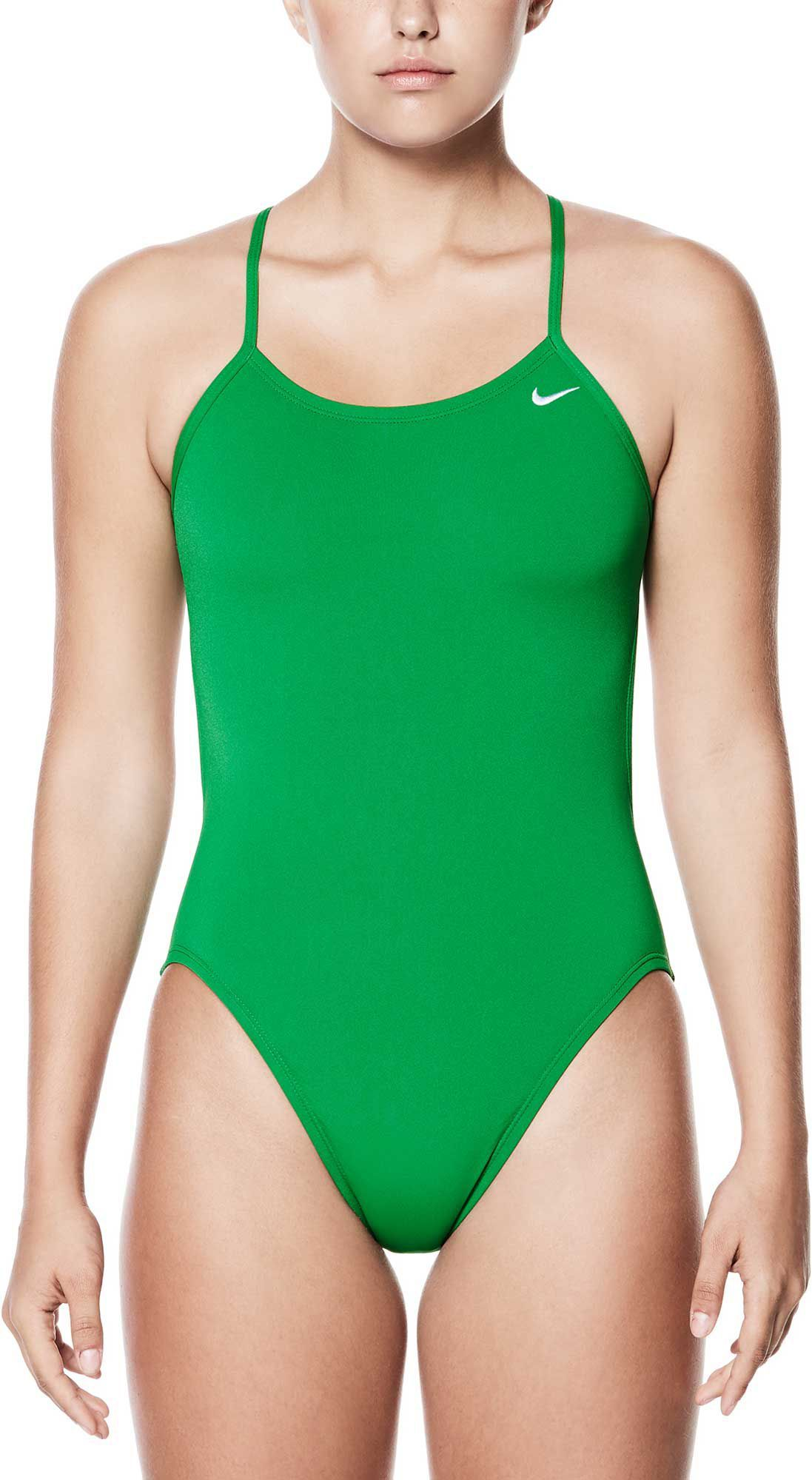 3ccfc7b244 Nike Women's Poly Core Solid Cut-Out Tank Swimsuit, Size: 28, Court Green