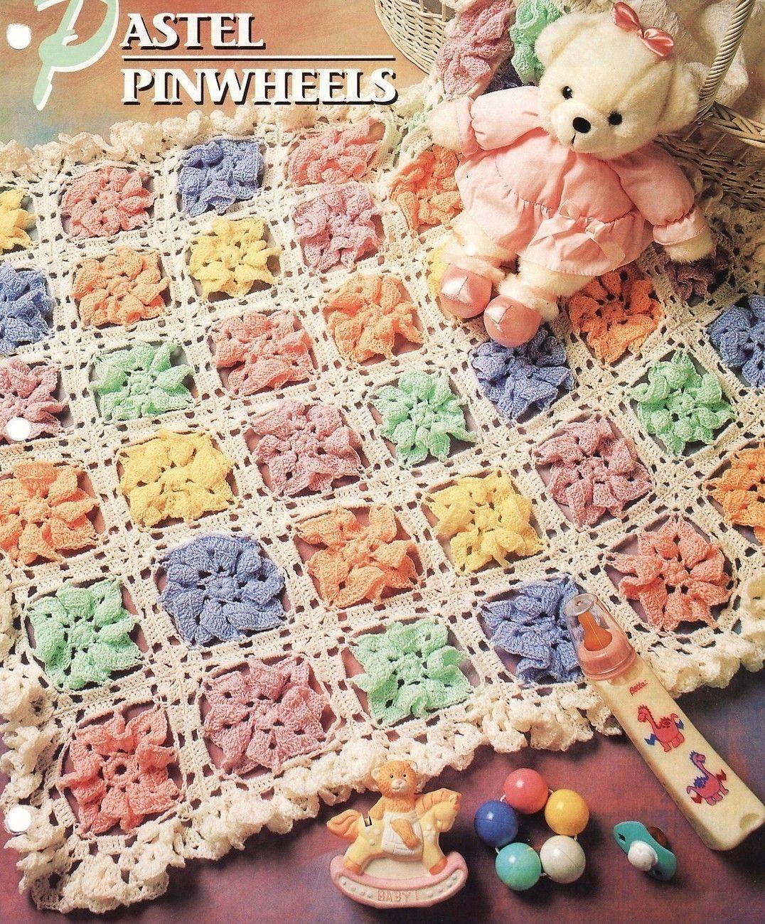 Pastel Pinwheels Afghan Crochet Pattern Baby Infant Blanket Throw