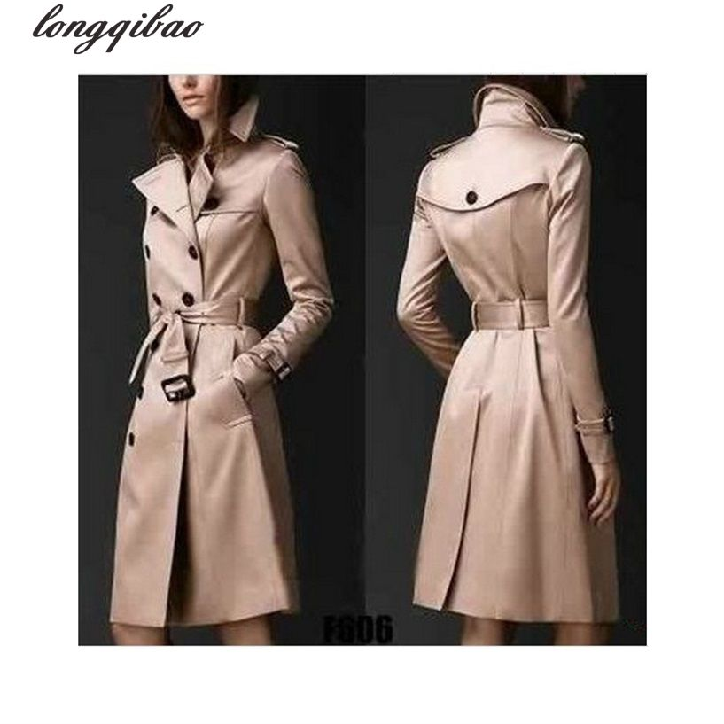 >> Click to Buy << Europe and the United States fashion spring and autumn women's double-breasted solid color long section Slim trench coat AL7637 #Affiliate