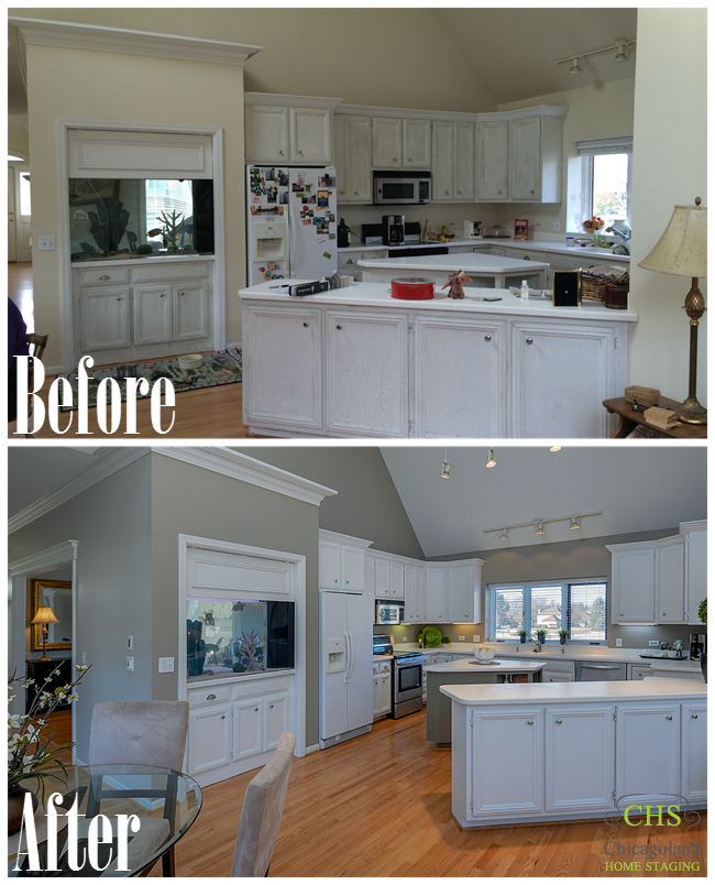2 Collage of West Chicago Home Staging Before and After photos ...
