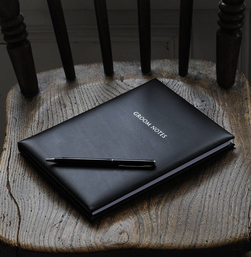 I've just found Genuine Leather Groom Notebook. Our genuine leather groom notebook is just a perfect place for storing all your wedding ideas when on the go.. £32.99