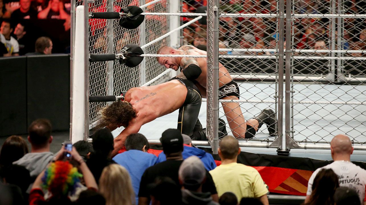 Extreme rules 2015 seth rollins vs randy orton steel cage match for the wwe