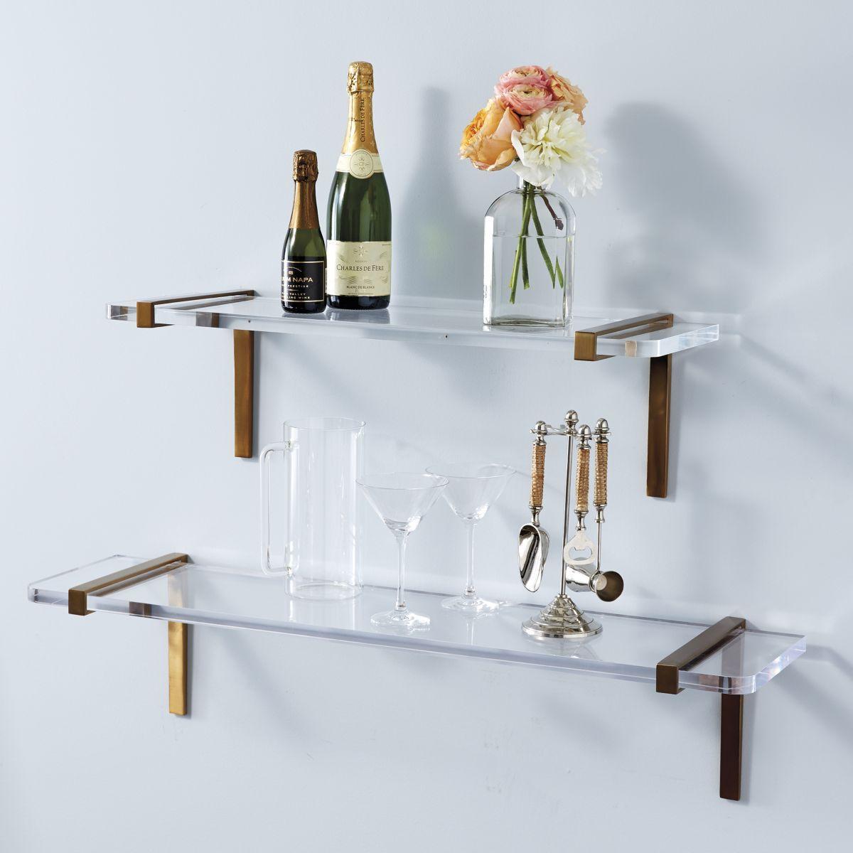 Puccini Shelf Acrylic And Brass Shelves Glass Shelves