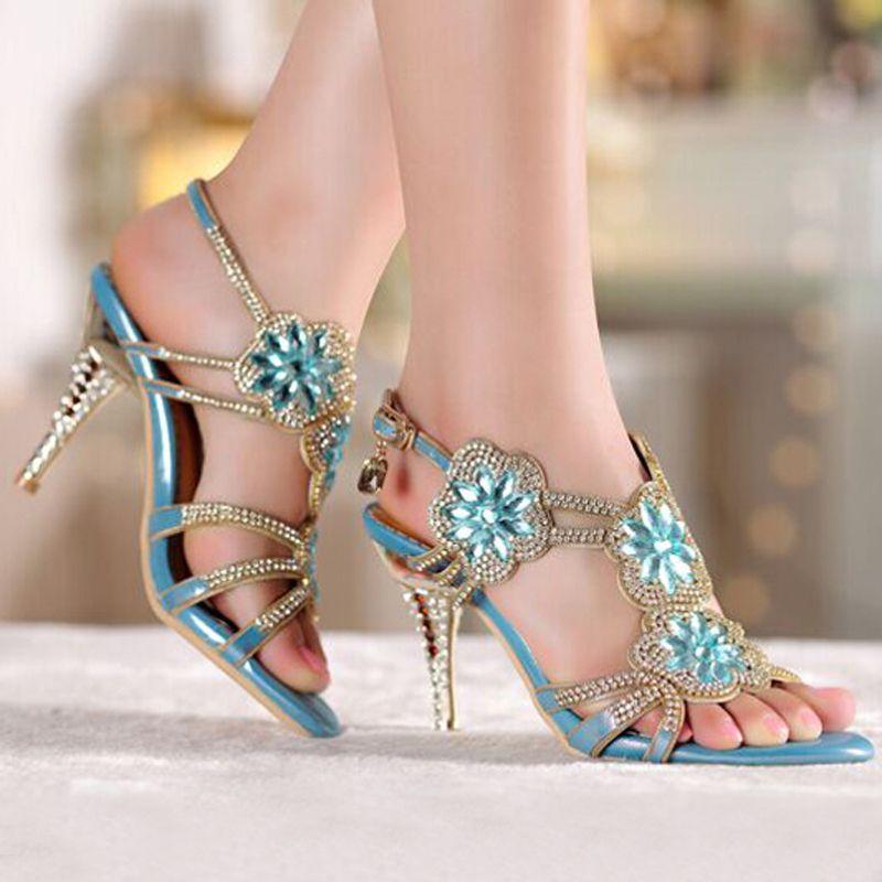 3e078cca4013 Middle High Heel Sandals Beaded Rhinestone Open Toe Lady Bridesmaid Summer  Cool Elegant Shoes Bridal Wedding Dresses Shoe