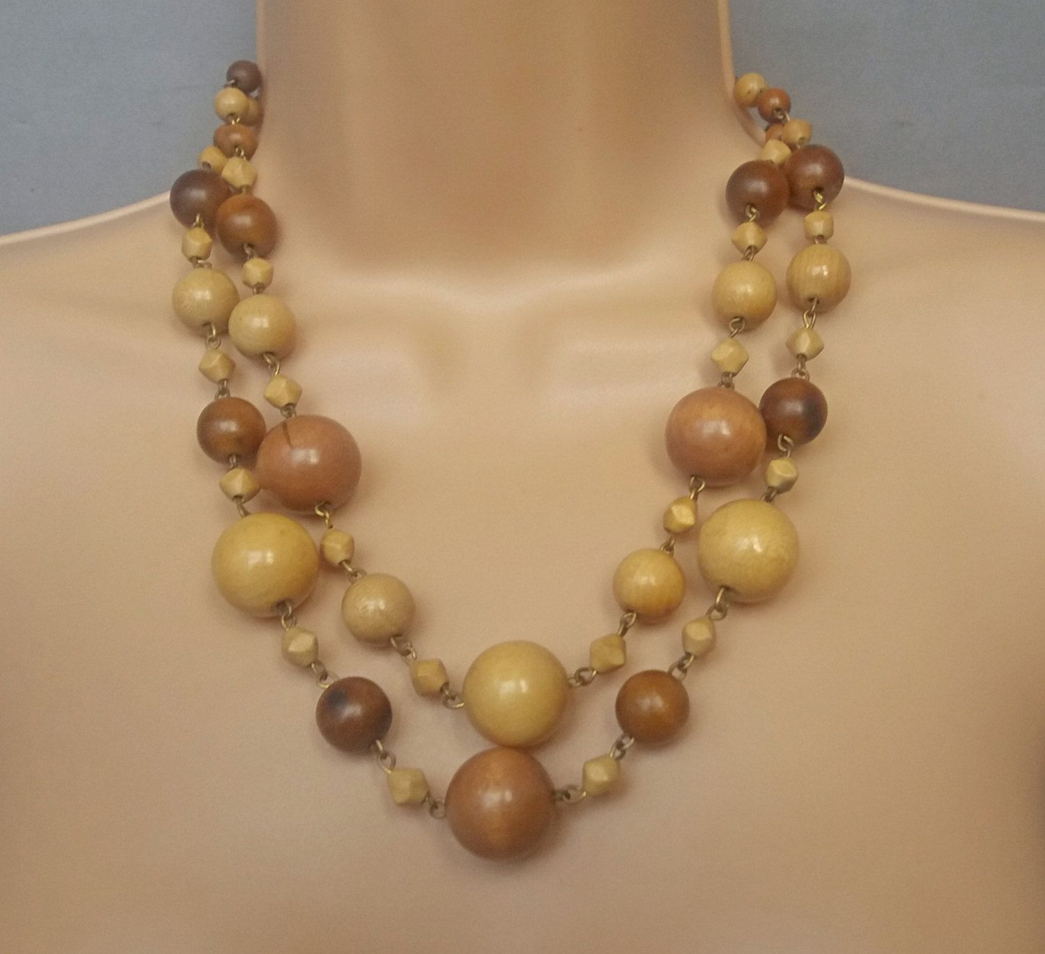 Wooden Bead Necklace Made In France 1950s Double Strand French Uk