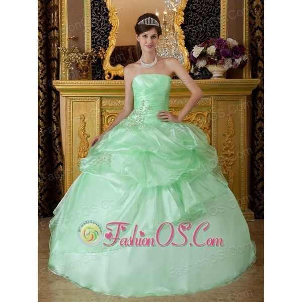 Luxurious Apple Green Sweet 16 Dress Strapless Organza Beading Ruch... ($175) via Polyvore