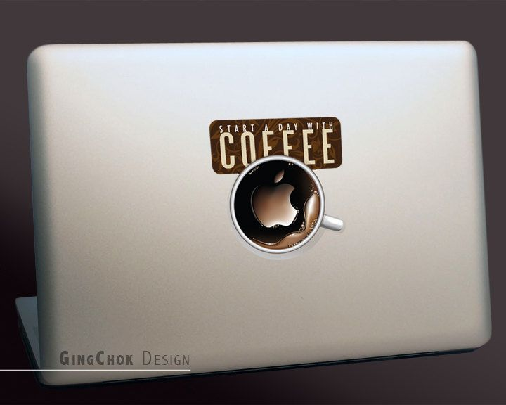"""Coffee Macbook decal, geekery sticker for apple laptop Macbook, Mac pro and air 11"""", 13"""", 15"""", 17"""". $7.99, via Etsy."""