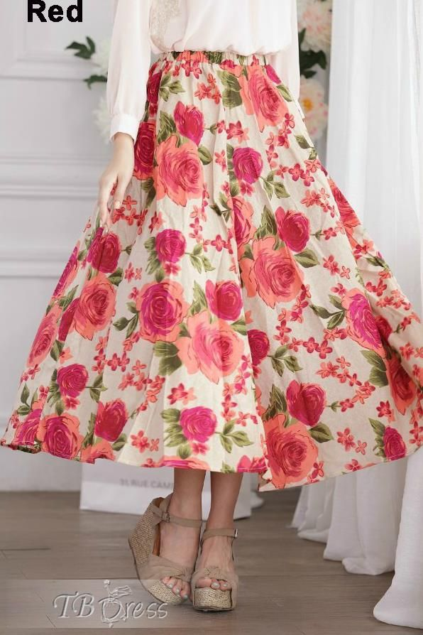 Preppy Style Floral Print Cotton Long Skirt | Long skirts, Floral ...
