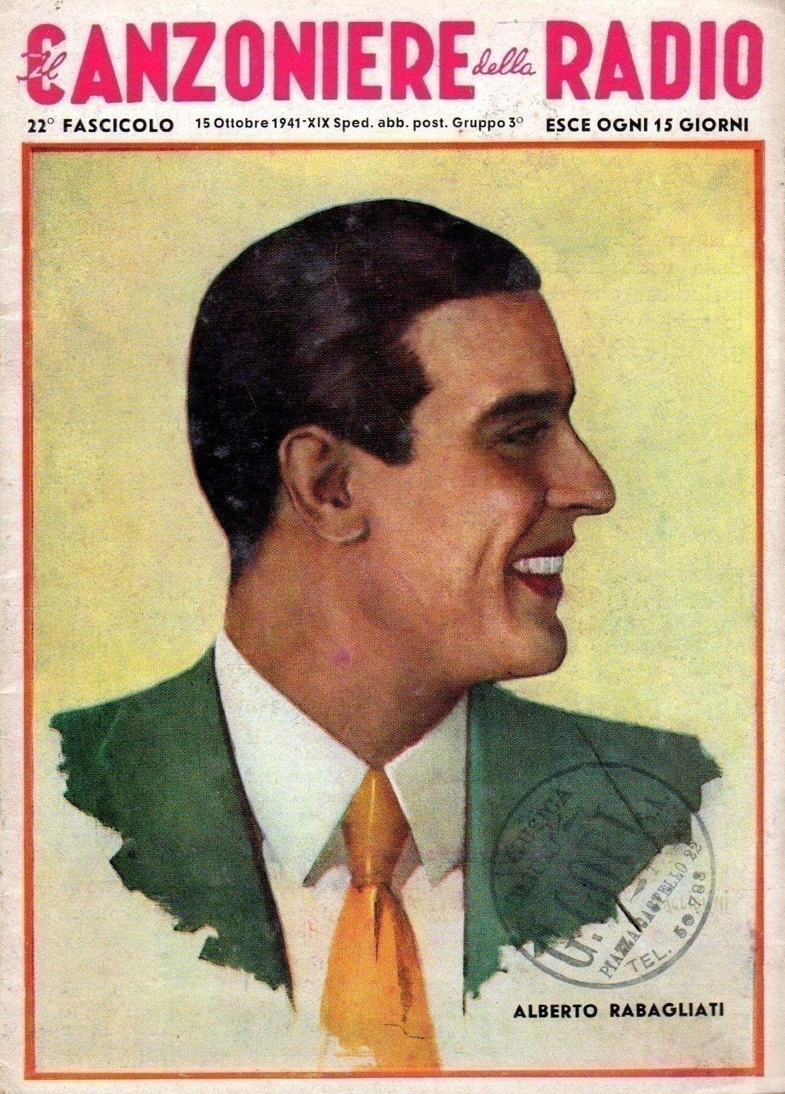"""Artwork featuring Alberto Rabagliati - Cover of fortnightly magazine """"Il Canzoniere della Radio"""" [Radio Songbook], 15th October 1941."""