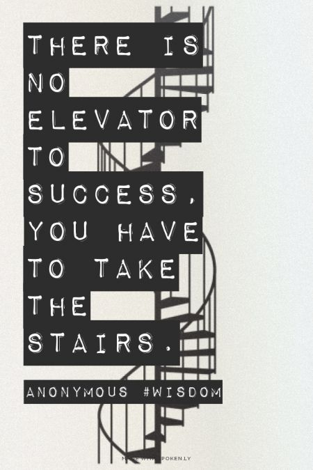 There is no elevator to success, you have to take the stairs. - Anonymous #wisdom | Adam made this with Spoken.ly