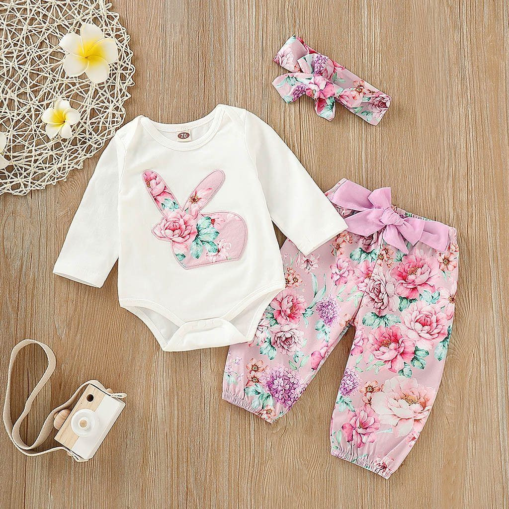 5cc124726a80 Newborn Baby Girl Clothes Easter Day Outfits Set 3M-24M Rabbit ...