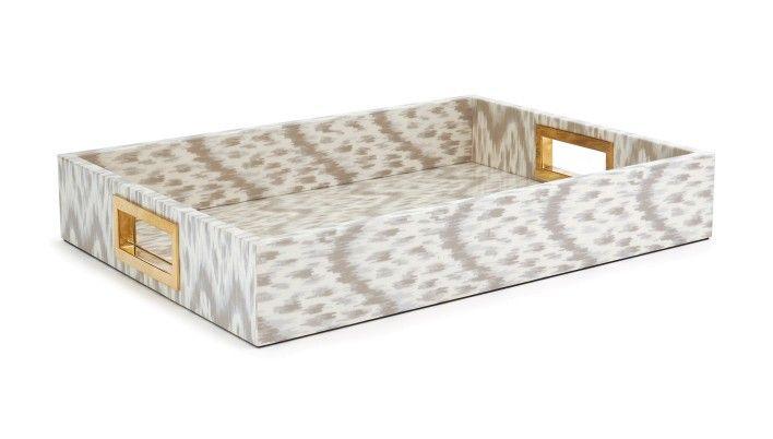 AERIN, Stone Printed Ikat Tray - LuxDeco.com