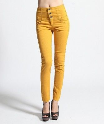 Details about MOGAN Colored HIGH WAISTED Power SKINNY JEANS Yoke ...