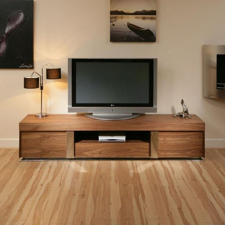 Large TV Television Cabinet Entertainment Unit Center Walnut Wood ...