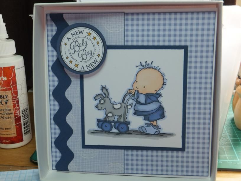 (Ref:H3) Card 15cm x 15cm. LOTV stamp for a baby card. OOPS! Forgot to take the card out of the box.