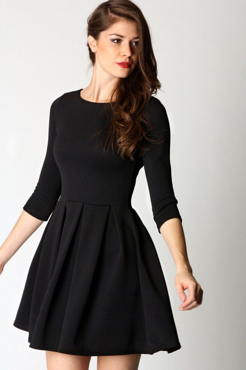 Long Sleeve Black Skater Dress  e9f40ad98