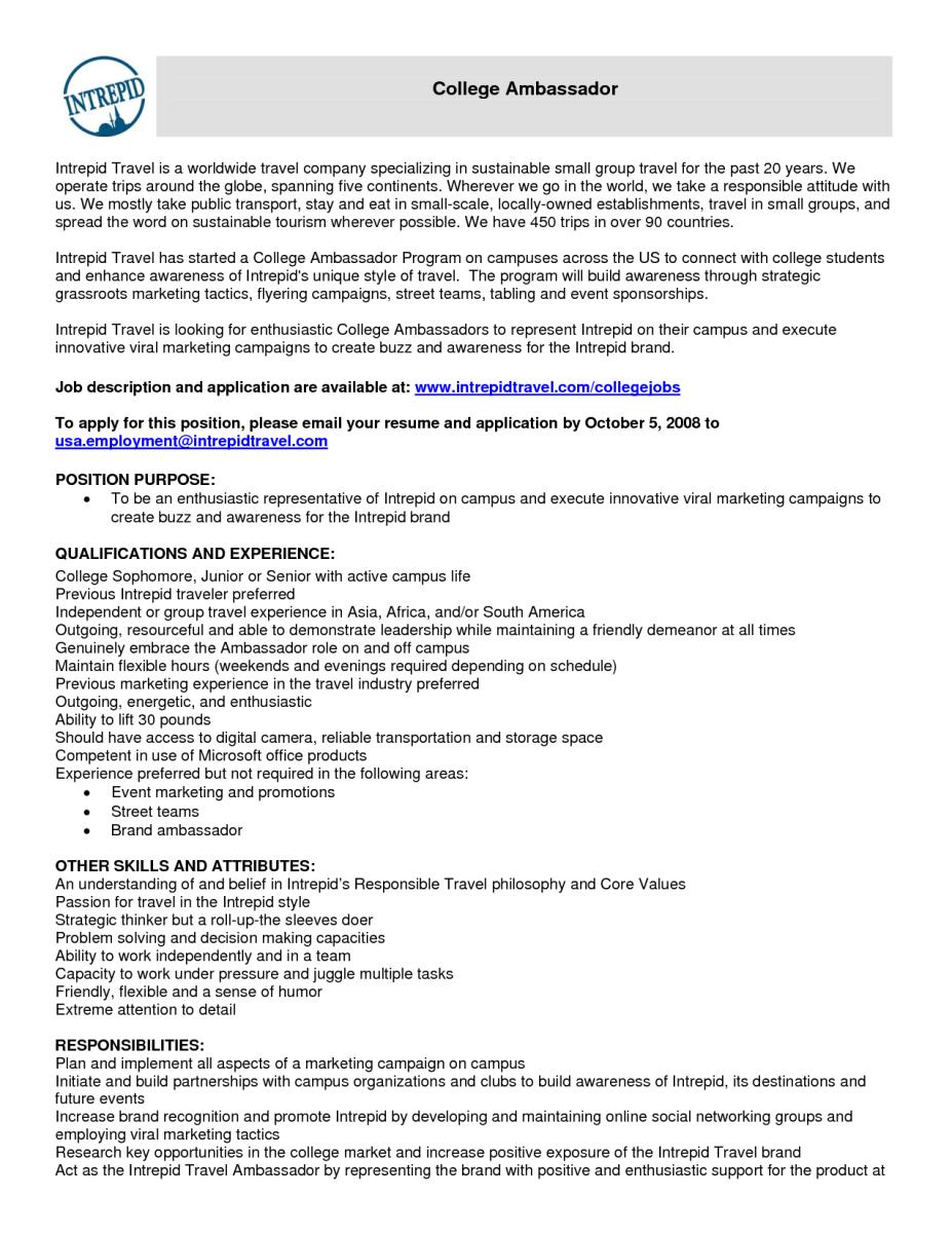 11 brand ambassador objective resume