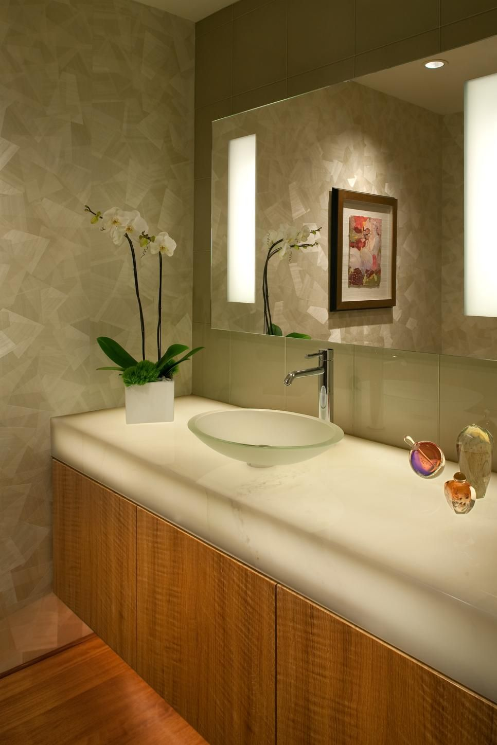 Powder With Back Lighted White Onyx Vanity   Dawson Design Group San Diego,  CA