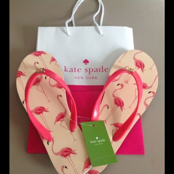 Kate Spade flamingo flip flops🎉Host