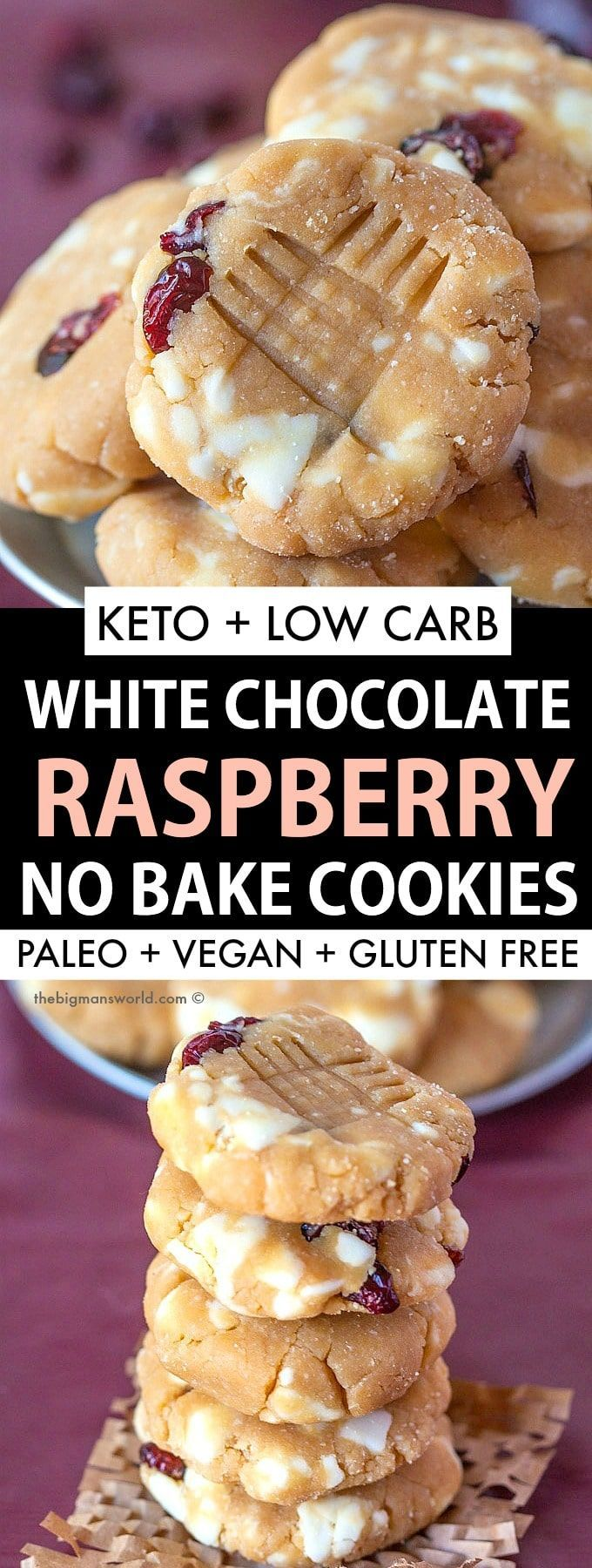 No Bake White Chocolate And Raspberry Cookies Recipe That Is Keto Sugar Free Low Carb And Made With In 2020 Raspberry Cookie Recipes Raspberry Cookies Healthy Baking