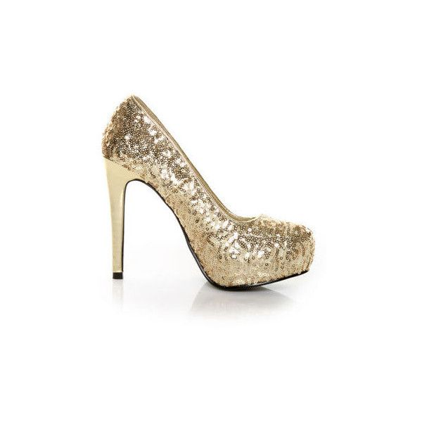 My Delicious Shiro Gold Sequin Sparkle Pumps - $34.00 ($34) found on Polyvore (wokrs :))