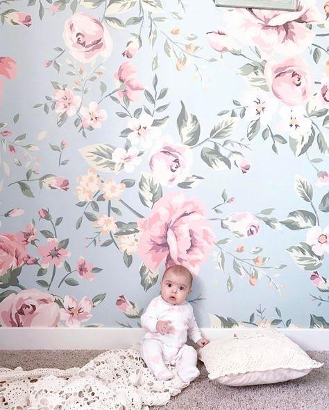 Floral Wallpaper Floral Nursery Decor Nursery Wallpaper Floral Wallpaper