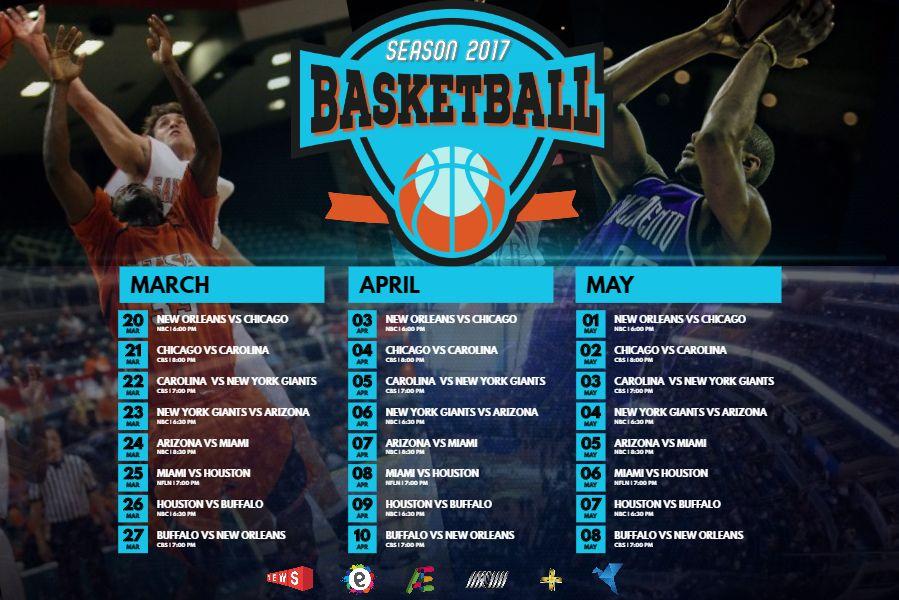 basketball match schedule poster template sports team schedules
