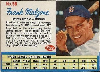 Post Cereal Baseball Cards Frank Howard 1962 Post Cereal 59 Don