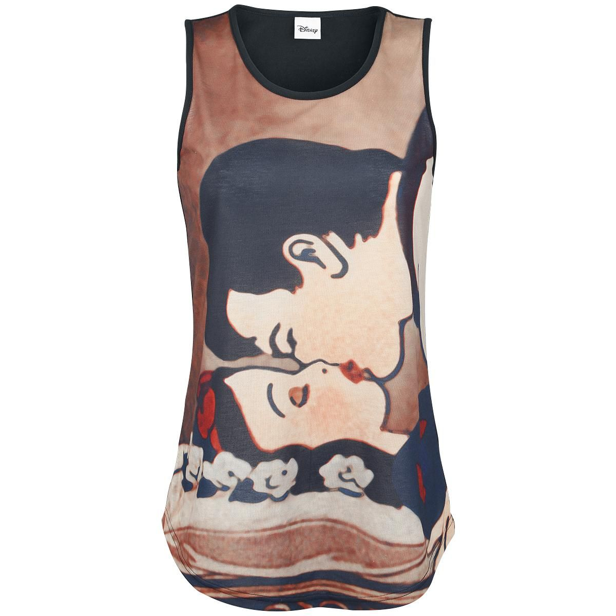 "Snow White - Kiss - front print - black back - sublimation print - Walt Disney Once there was beautiful princess by the name of Snow White whose life became hell thanks to her jealous stepmother. Snow White escaped and found shelter with the loving seven dwarves. But her stepmother followed her with a poisoned apple. The ""Kiss"" girls top features the gracious kiss between Snow White and the prince, ultimately reviving her. The colours of this top won't lose their intensity tha..."