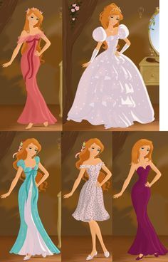 Giselle from enchanted... What her outfits would have looked like if the movie was all animated